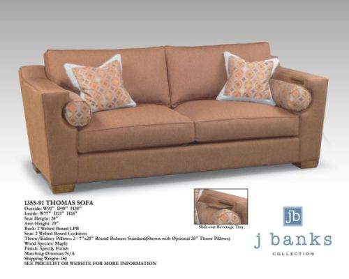The Thomas Sofa - This sofa leaves no detail ignored... complete with a drink rest and customizable bolster pillows