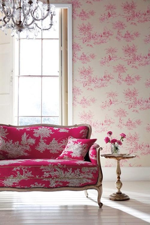 Pink Toile wallcovering & couch