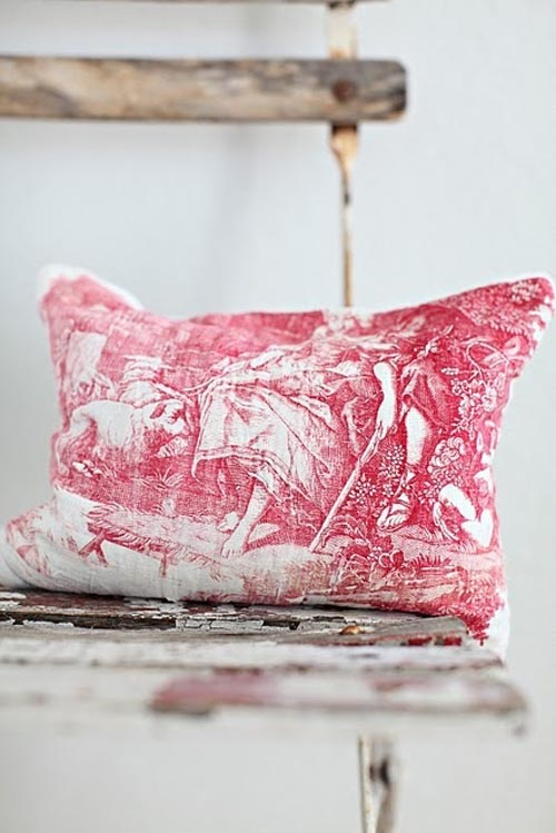 Red Toile pillow