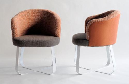 Mandarin Oatmeal Boucle Chairs